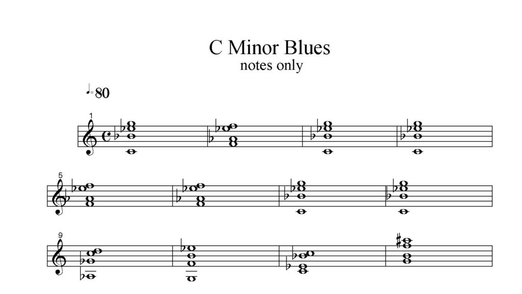 C-Minor-Blues-from-Chord-Workbook-Volume-One-by-Bruce-Arnold-Minor Key Ear Training
